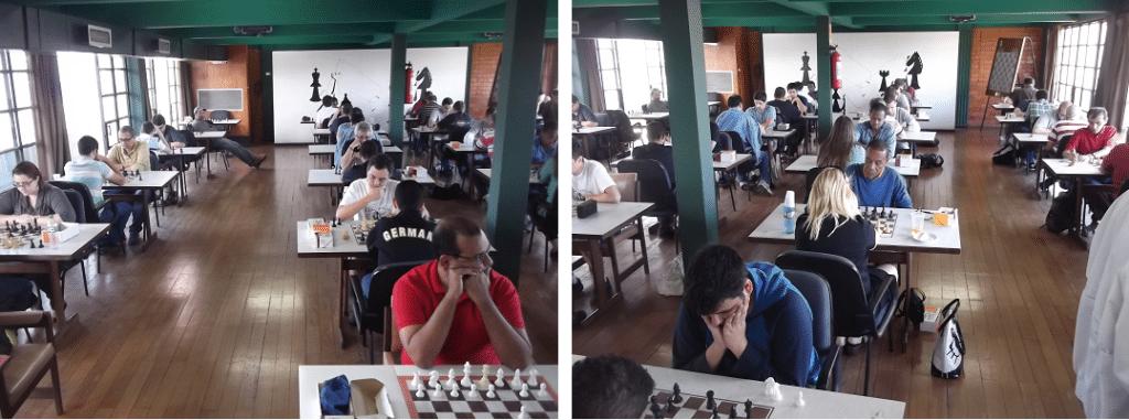 A sala de Xadrez do Tijuca Tênis Clube ficou lotada.