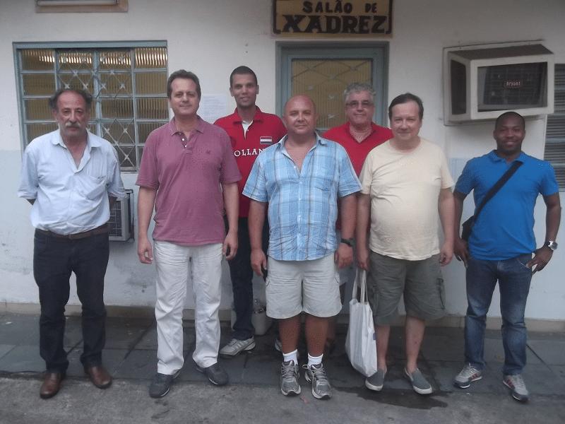 Da esquerda para a direita, Juarez Lima, Fernando Madeu, André Kemper, Tarcísio Dantas, Álvaro Frota, Hermann Mathow e António Pinheiro