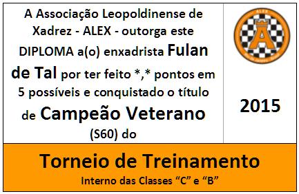 Mini Troféu Diploma Campeão Veterano