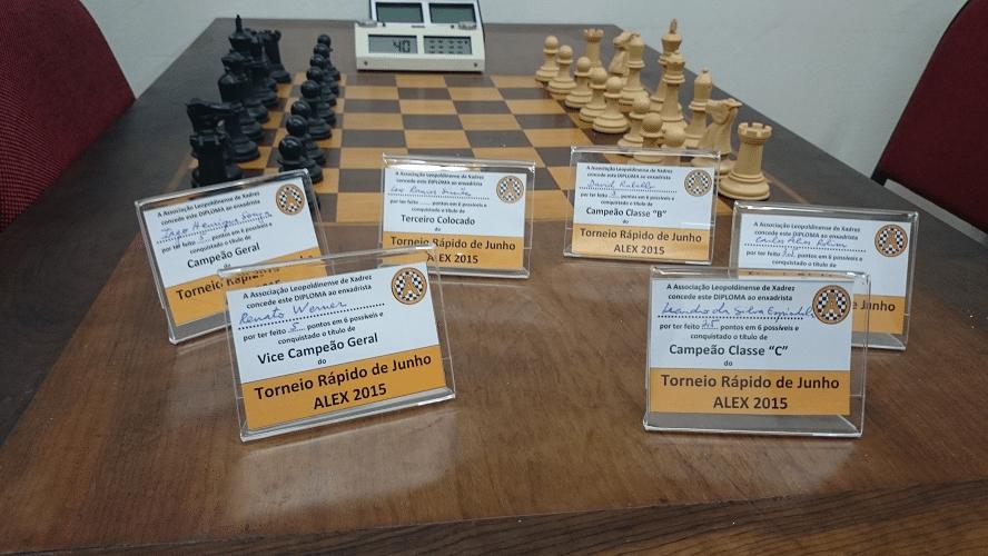 Premiação - 01 - Os Mini Diplomas que foram conquistados pelos enxadristas no Torneio Rápido de Junho