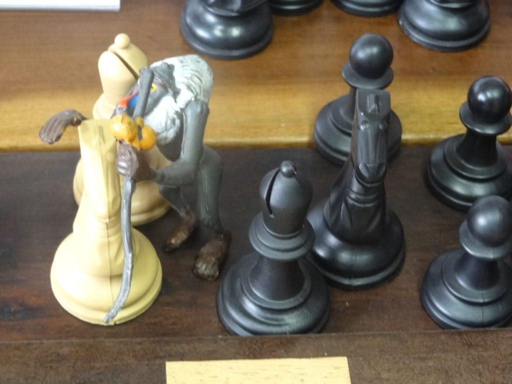 Mufasa confabulando com o cavalo e bispo brancos, para lutar contra Scarr (fora da foto) que apareceu para atrapalhar!