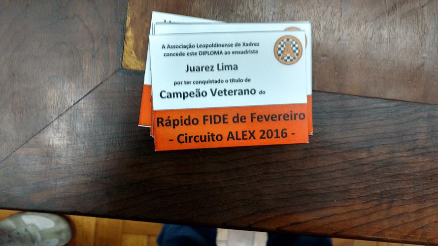 Juarez Lima Campeão Veterano do Rápido FIDE de Fevereiro