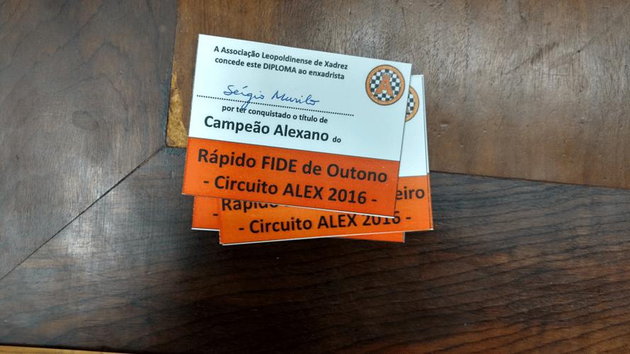 Sérgio Murilo Campeão Alexano do Rápido FIDE de Outono
