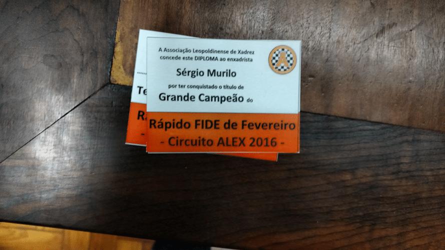 Sérgio Murilo Campeão do Rápido FIDE DE Fevereiro