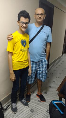 Matheus Nunes da Silva e seu pai João Bosco